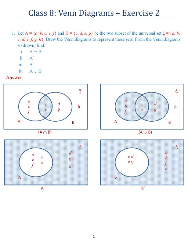 Class 8 Venn Diagrams Exercise 2 Icse Isc Math Portal For K12