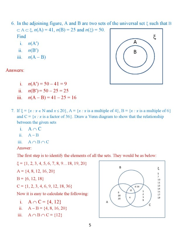 Class 8 Chapter 1 – Venn Diagrams – Exercise 2 Page 5