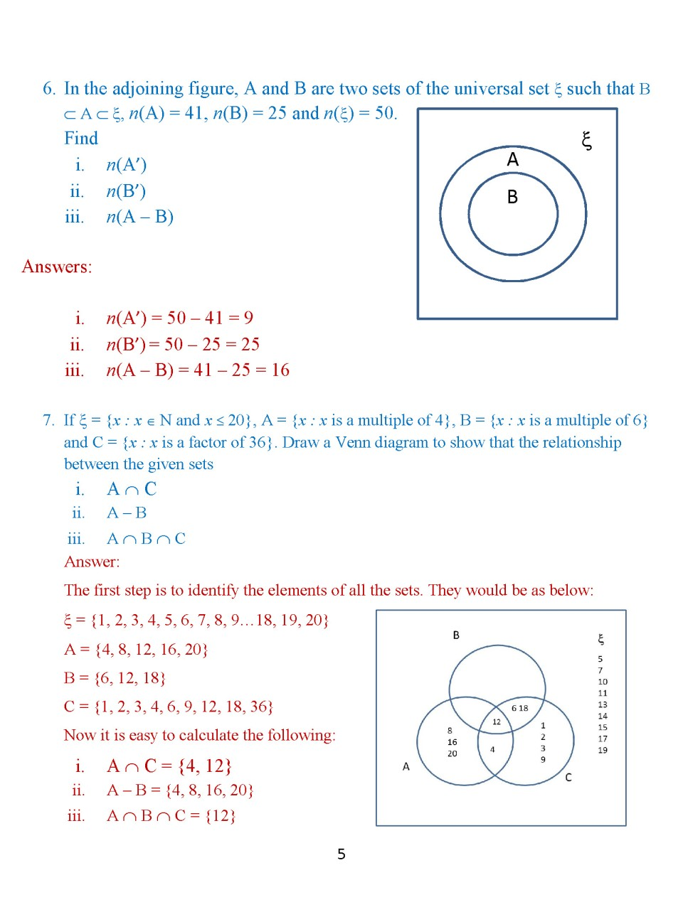 Uncategorized Math Venn Diagram Worksheets worksheet complement of a set queensammy worksheets for icse math portal k 12 students