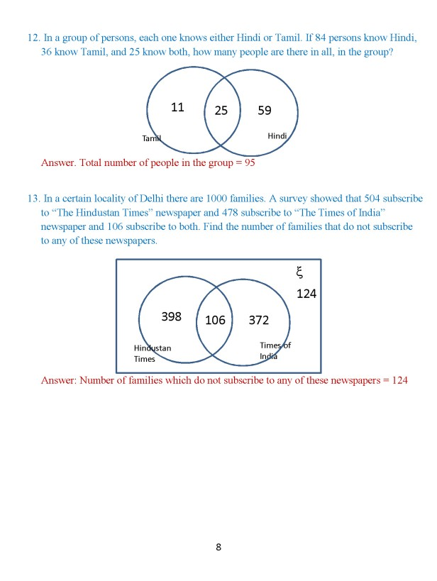Class 8 Chapter 1 – Venn Diagrams – Exercise 2 Page 8