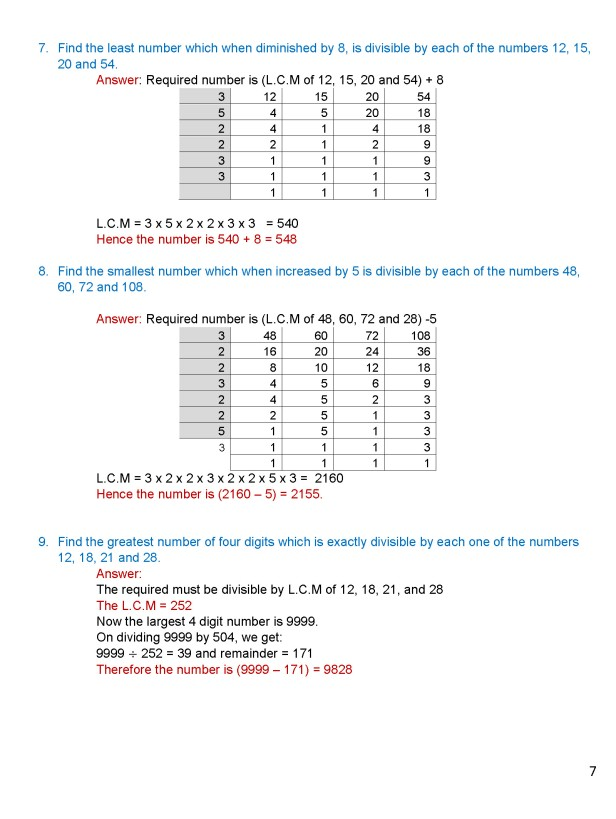 Class 8 – Chapter 4 - Factors and Multiples - Exercise 4C Page 7