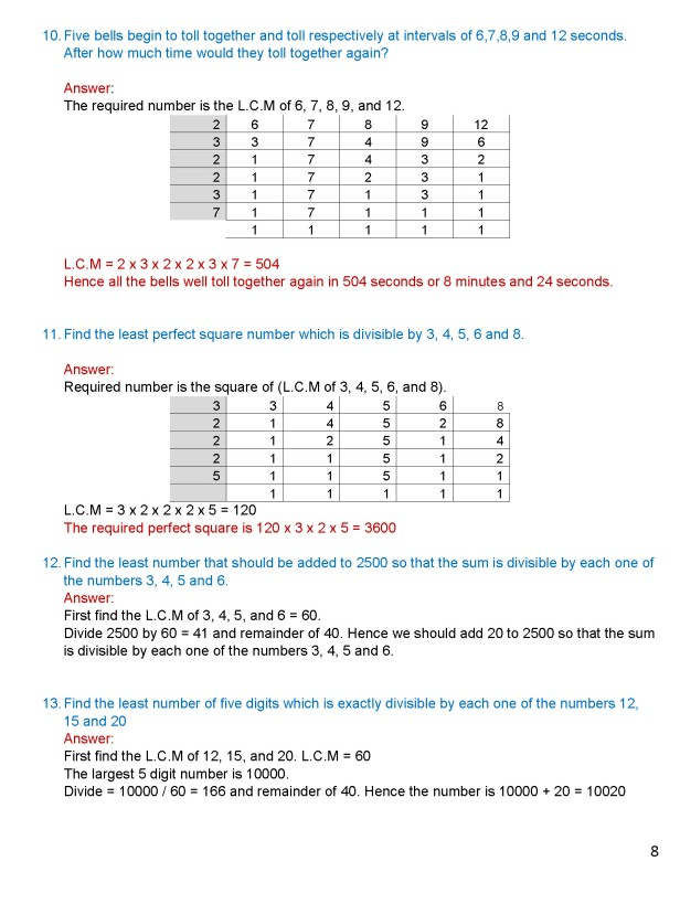Class 8 – Chapter 4 - Factors and Multiples - Exercise 4C Page 8