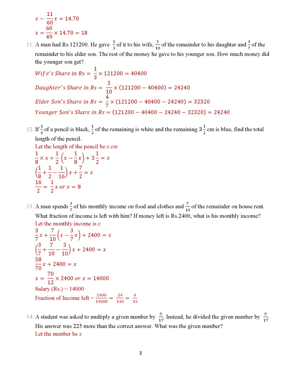 Class 8 Chapter 5 €� Fractions €� Exercise 5c Page Fractions « Icse Math  Portal For