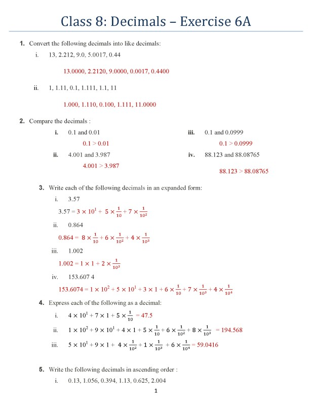 class-8-chapter-6-decimals-exercise-6a-page-1