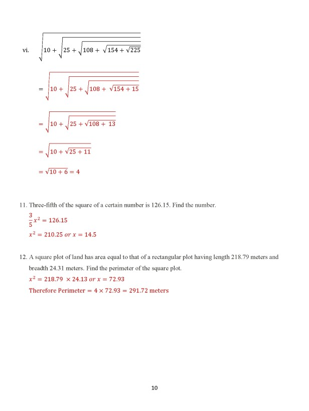 Class 8 Chapter 7 – Square Roots - Exercise 7B Page 10
