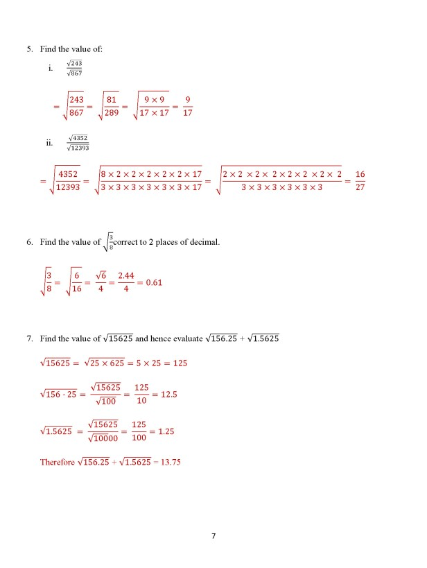 Class 8 Chapter 7 – Square Roots - Exercise 7B Page 7