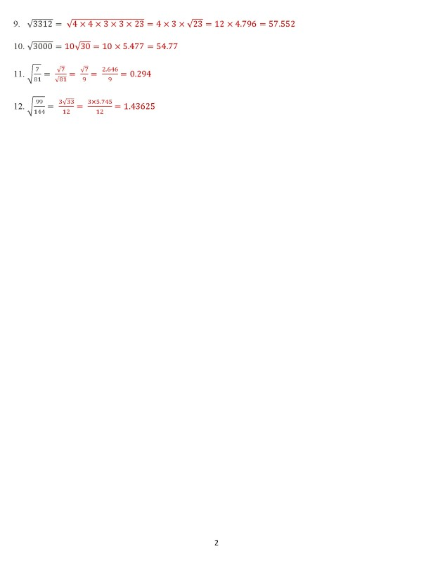 Class 8 Chapter 7 – Square Roots - Exercise 7D Page 2