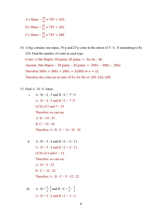 Class 8 Chapter 9 - Ratio and Proportion – Exercise 9A Page 4