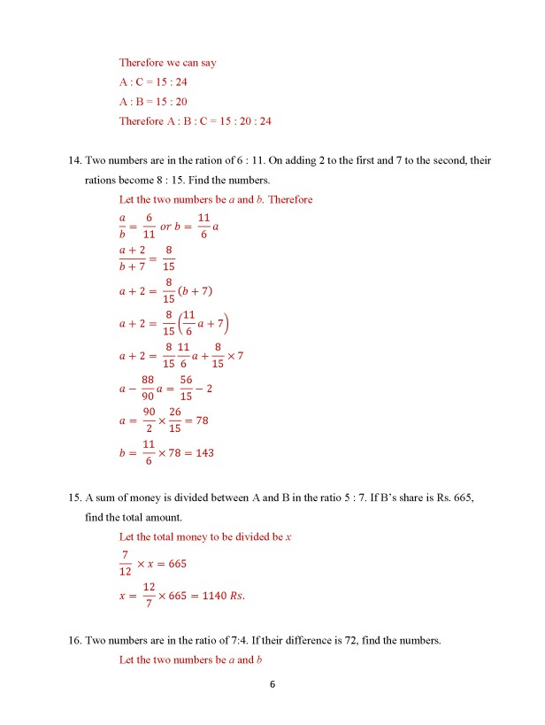 Class 8 Chapter 9 - Ratio and Proportion – Exercise 9A Page 6