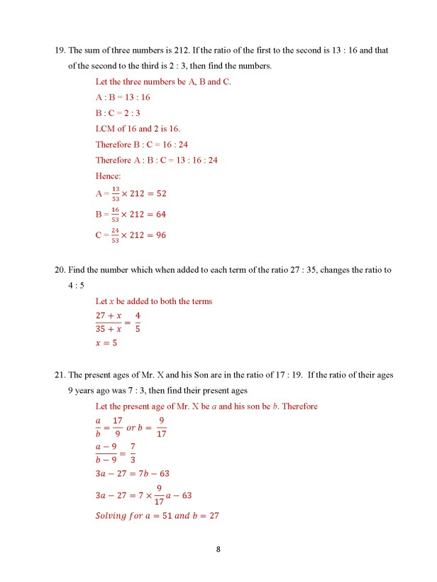Class 8 Chapter 9 - Ratio and Proportion – Exercise 9A Page 8