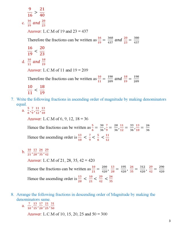 Class 8 – Chapter 5 – Fractions - Exercise 5A Page 3