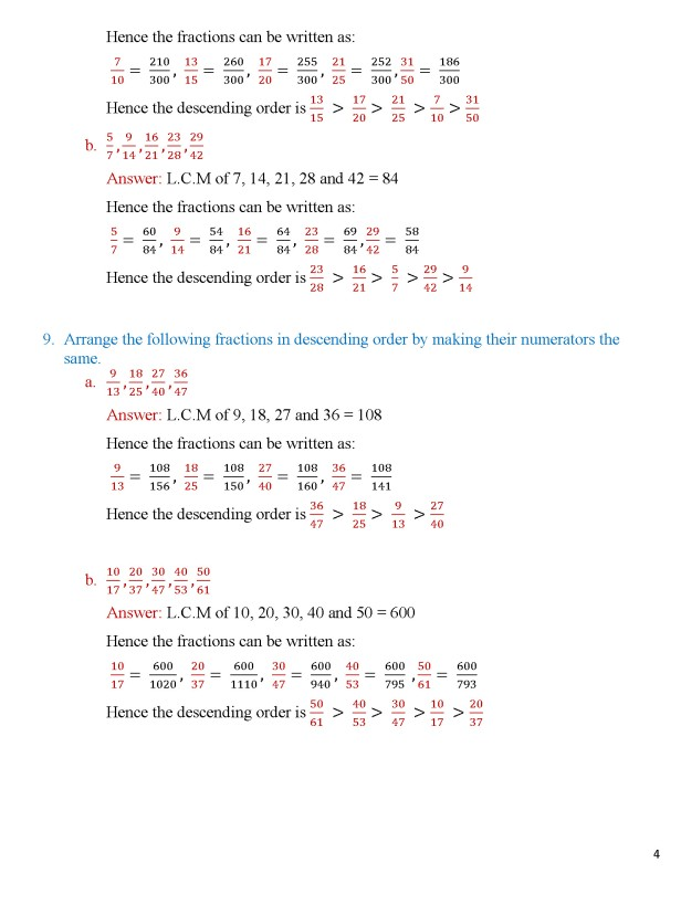 Class 8 – Chapter 5 – Fractions - Exercise 5A Page 4