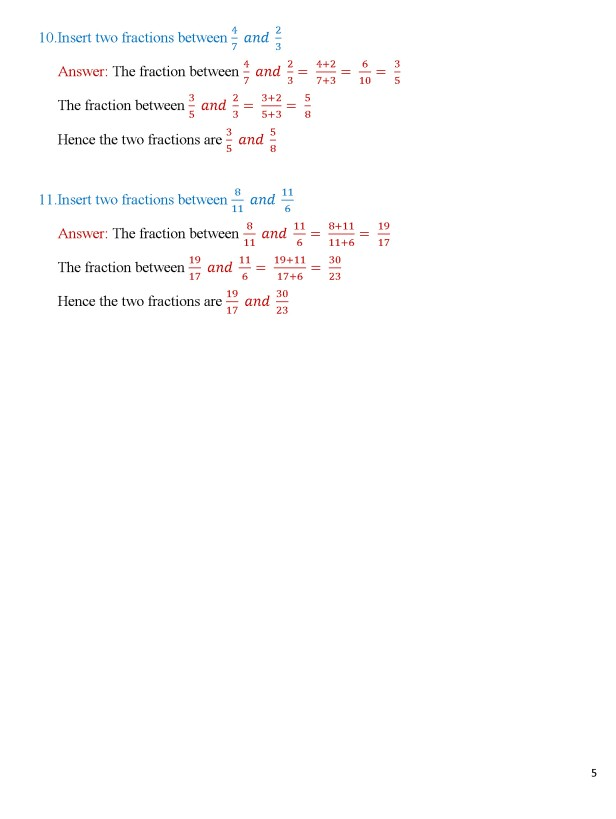 Class 8 – Chapter 5 – Fractions - Exercise 5A Page 5
