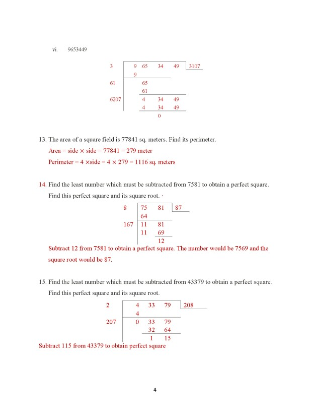 Class 8 – Chapter 7 – Square Roots & Cube Roots - Exercise 7A Page 4