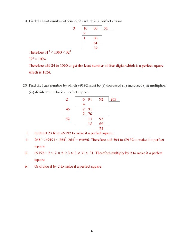 Class 8 – Chapter 7 – Square Roots & Cube Roots - Exercise 7A Page 6