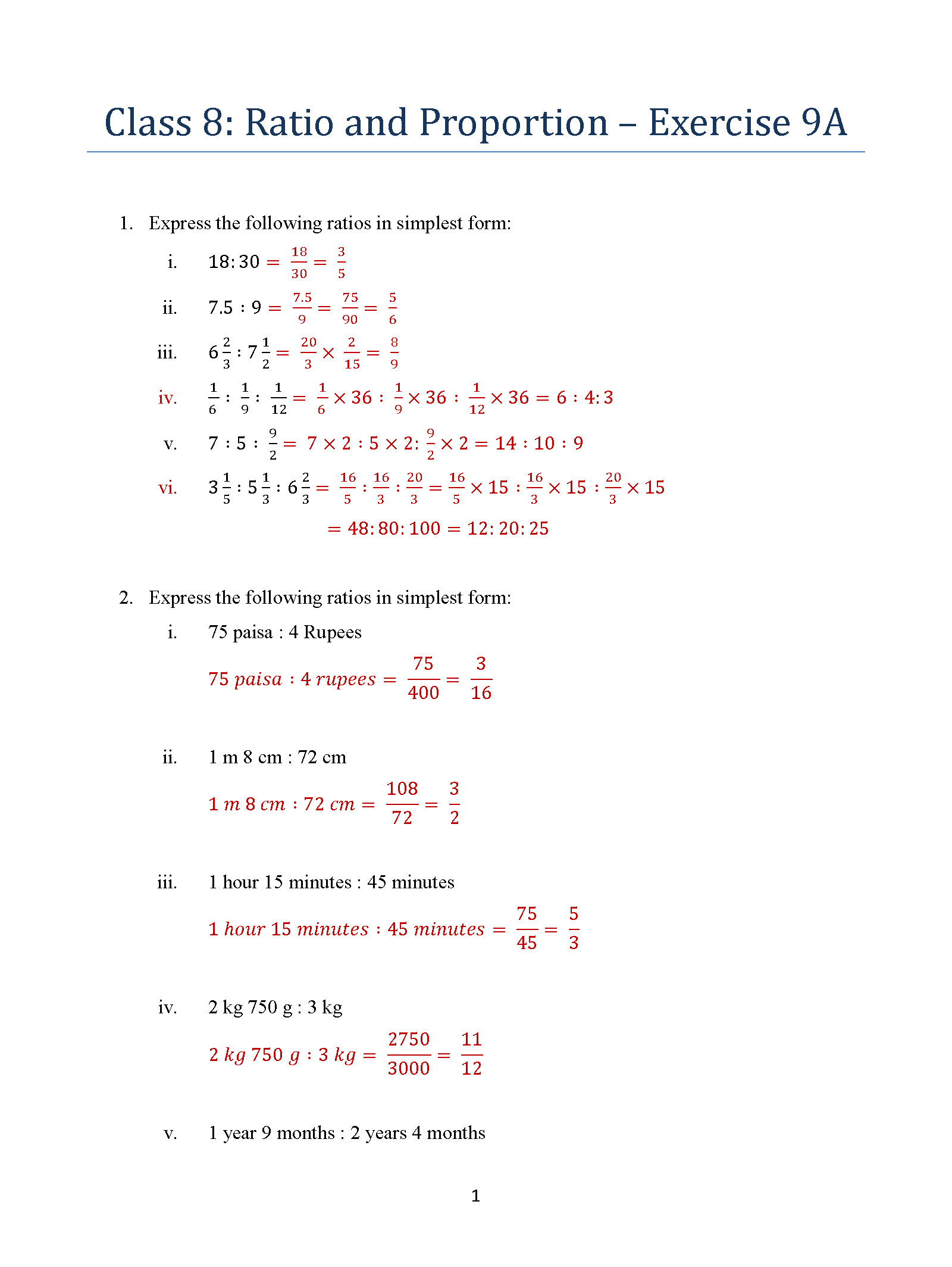 Class 8: Ratio and Proportion – Exercise 9A – ICSE / ISC