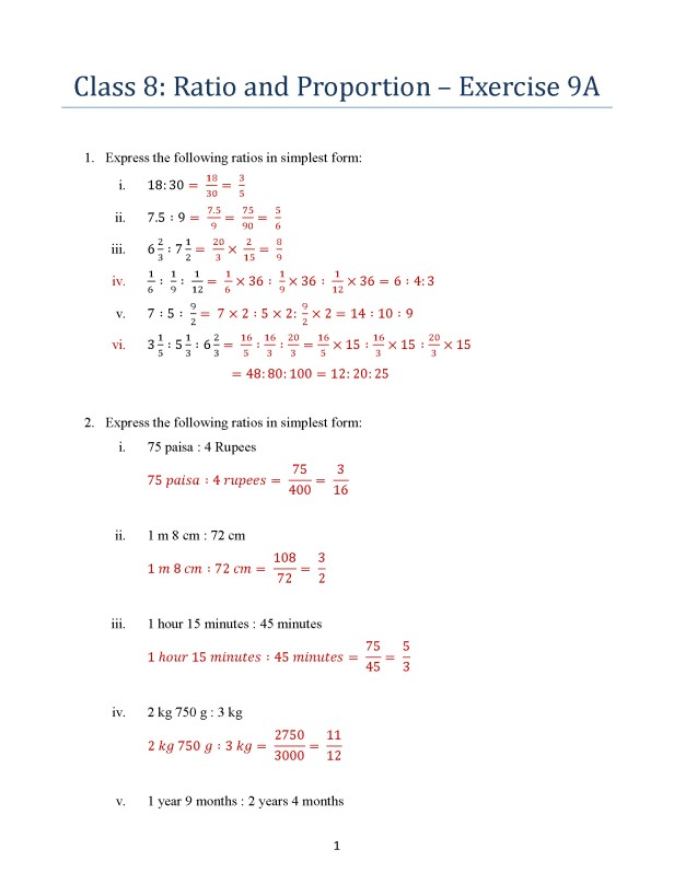 Class 8 Ratio and Proportion Exercise 9A ICSE Math Portal for – Percent Proportion Worksheet
