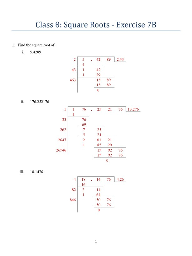 class-8-square-roots-exercise-7b-page-1