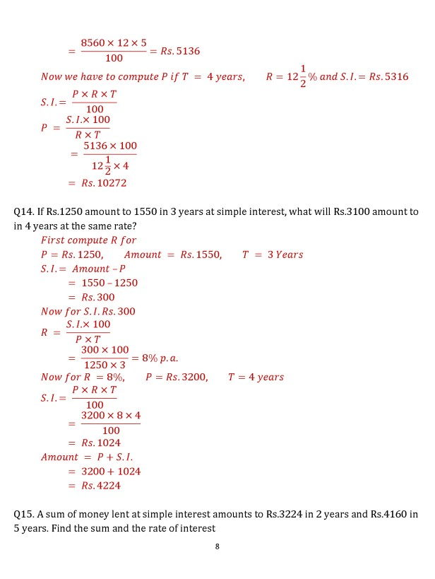 Class 8 Chapter 15 – Simple Interest and Compound Interest – Exercise 15A Page 8